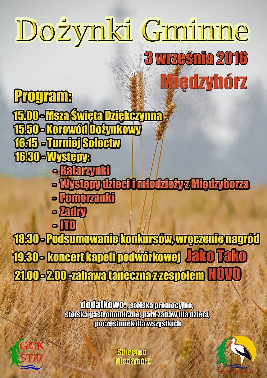 Plakat informacyjny - Dożynki Gminne wMiędzyborzu